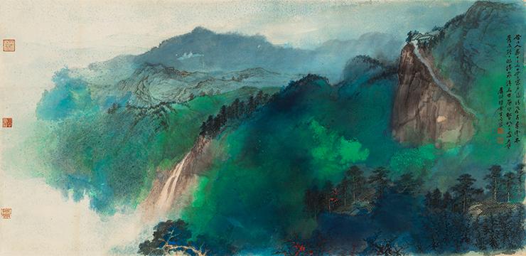 張大千【緑林】美術品 中国美術 中国書画家 掛軸 掛け軸 希少品 サイズ: 86cm x 176cm