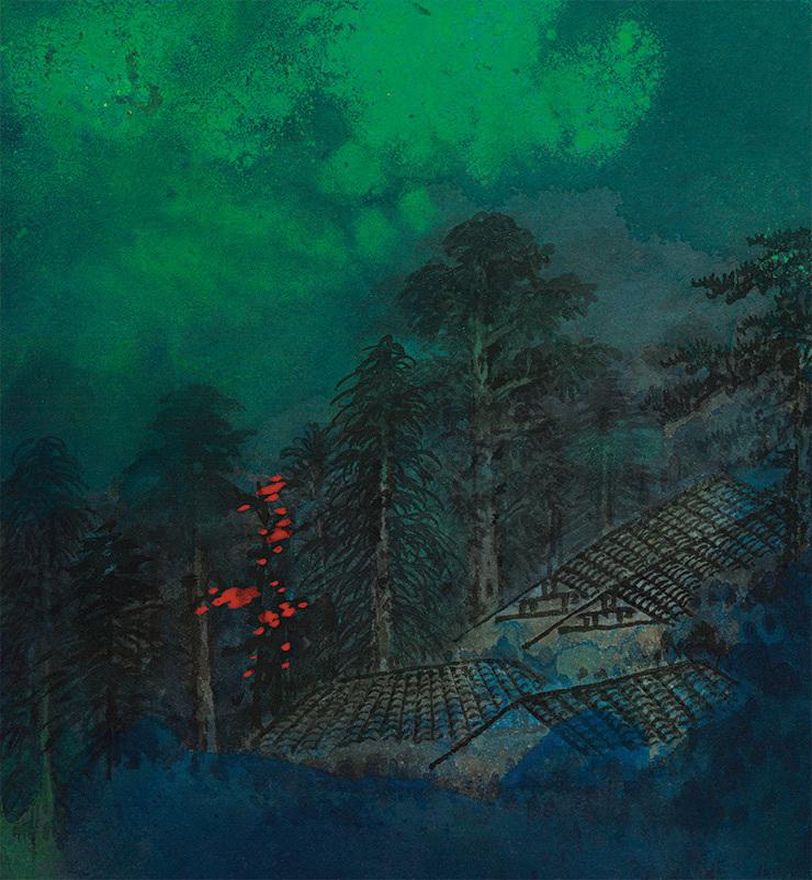 張大千【緑林】美術品 中国美術 中国書画家 掛軸 掛け軸 希少品 サイズ: 86cm x 176cm_画像3