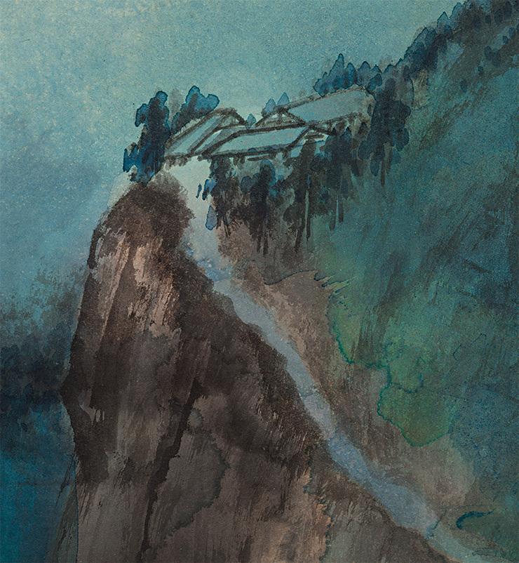 張大千【緑林】美術品 中国美術 中国書画家 掛軸 掛け軸 希少品 サイズ: 86cm x 176cm_画像5
