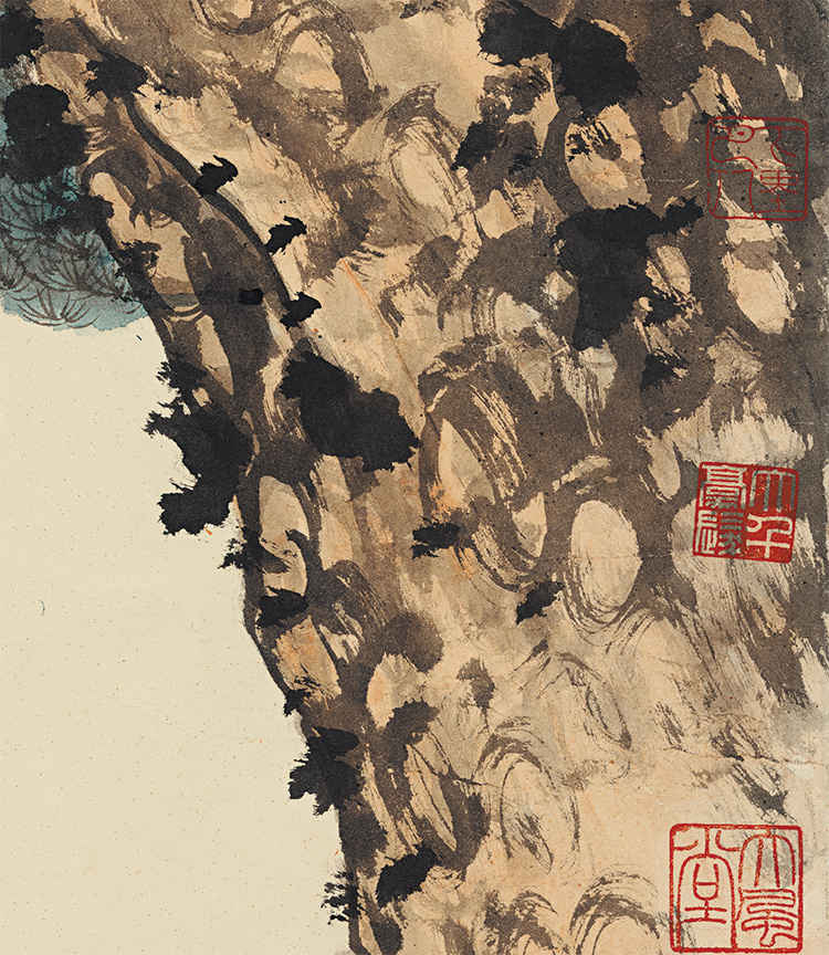 張大千【松下習者】中国美術 中国書画家 美術品 掛軸 掛け軸 希少品 サイズ: 98cm x 188cm_画像2