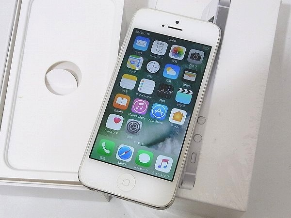 1円 美品 動作良好 3日間保証付Apple iPhone5 16GB シルバー ME040J/A au 判定○