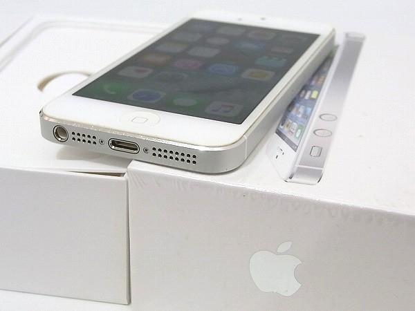 1円 美品 動作良好 3日間保証付Apple iPhone5 16GB シルバー ME040J/A au 判定○_画像3