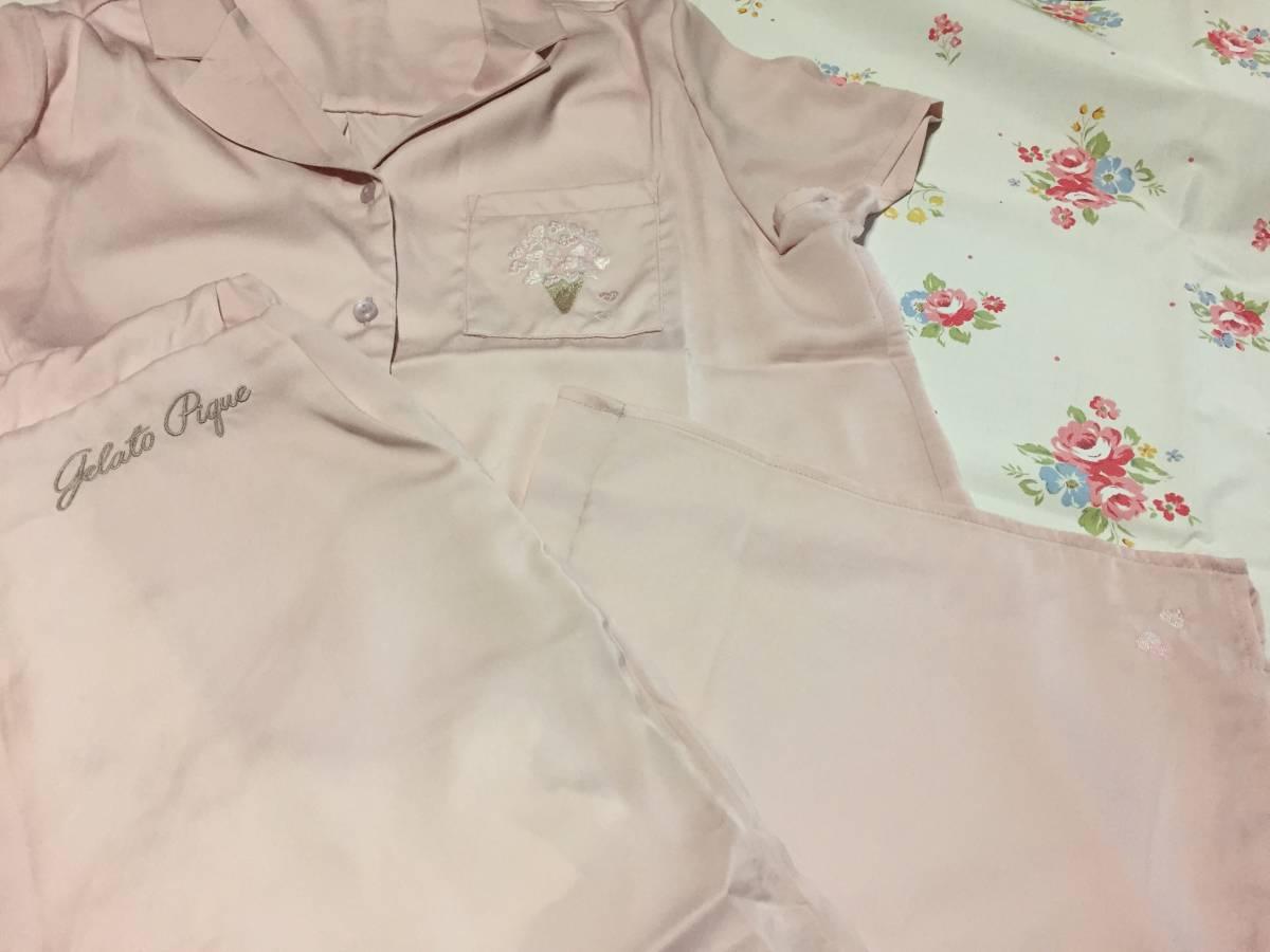 ジェラートピケ*新品チェリーブロッサムエンブロイダリーサテンシャツ&ロングパンツセット*ピンク 部屋着 ルームウエア パジャマ_画像3