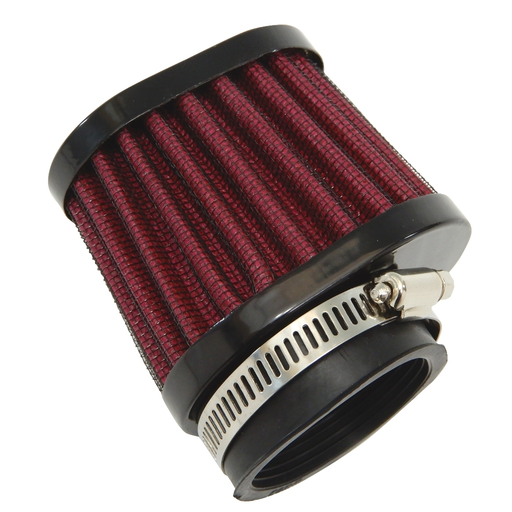 50mm オーバルパワーフィルター 黒x赤 ホンダ CB-1,CB400SF,CBR400F,CBR400R,CBR400RR,CBX400F,FZR400R,FZR400RR_画像3