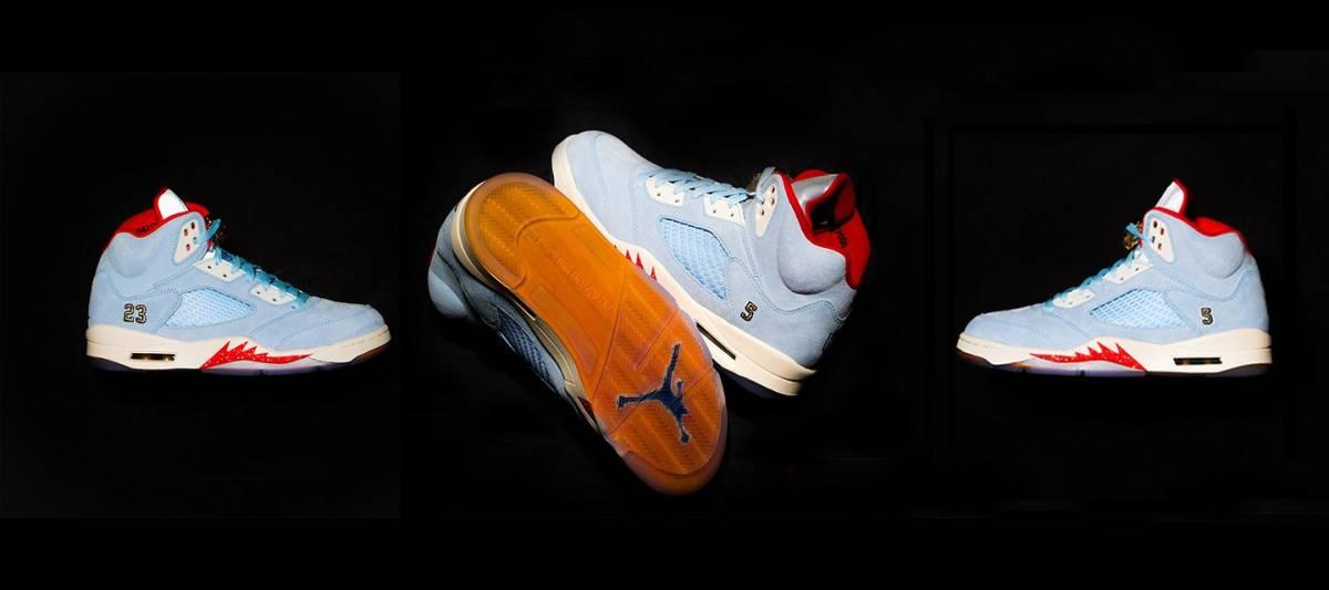 【超希少・26cm 】世界7000足限定 TROPHY ROOM × Air Jordan 5 Retro (ICE BLUE) トロフィールーム エアージョーダン 5 アイスブルー_画像4