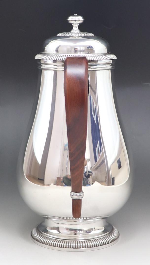 アンティーク 「Christofle」 クリストフル 木製把手 大型ポット 純銀P シルバープレート_画像3