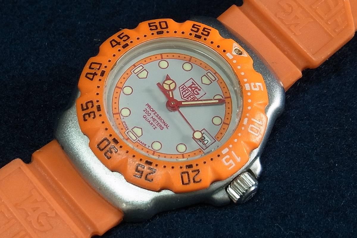 【ジャンク】タグホイヤー フォーミュラ1 オレンジ レディースサイズ クォーツ腕時計 [373.508] 動作品_画像6