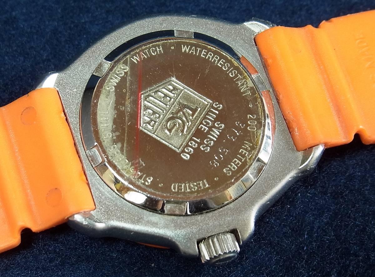 【ジャンク】タグホイヤー フォーミュラ1 オレンジ レディースサイズ クォーツ腕時計 [373.508] 動作品_画像10