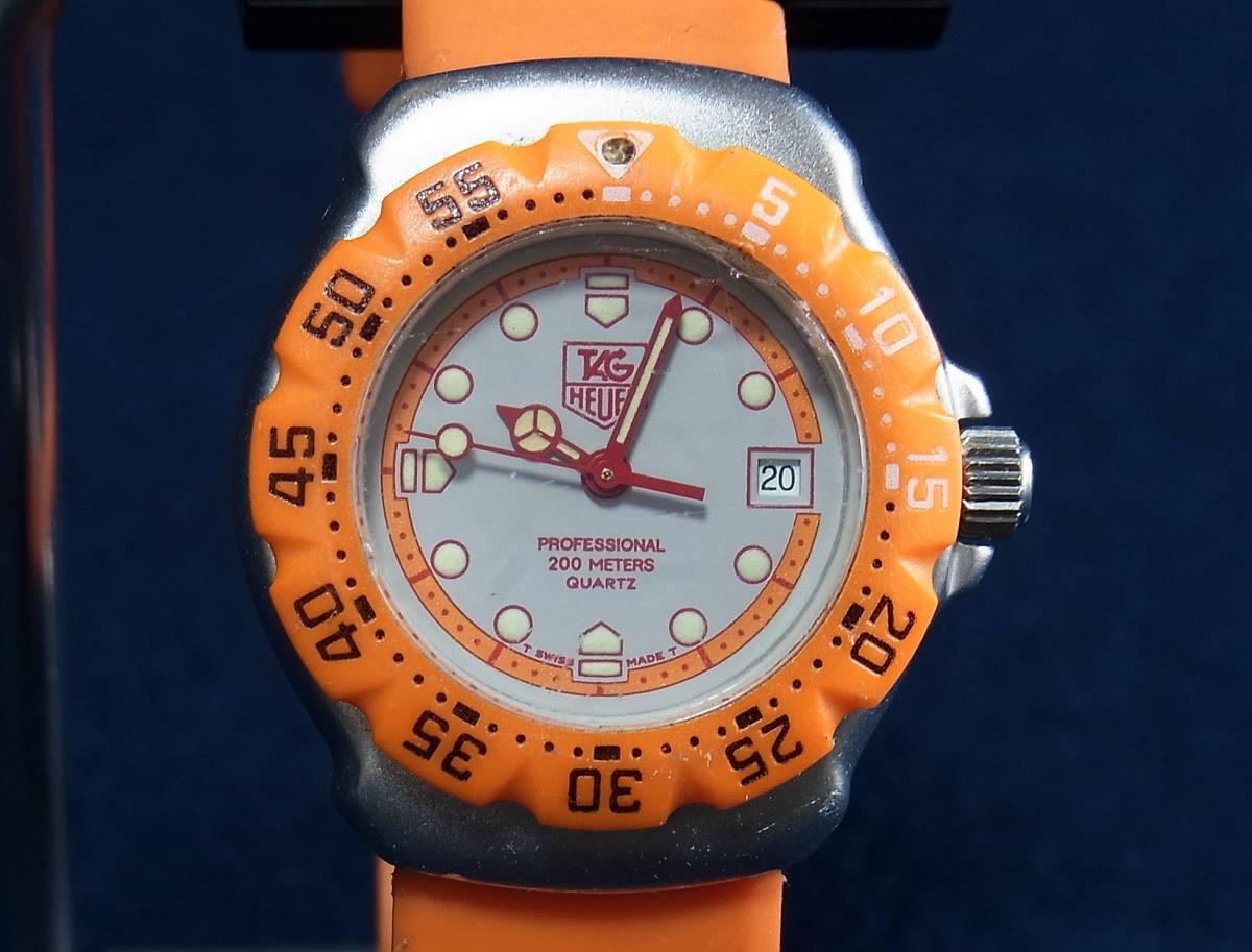 【ジャンク】タグホイヤー フォーミュラ1 オレンジ レディースサイズ クォーツ腕時計 [373.508] 動作品_画像4