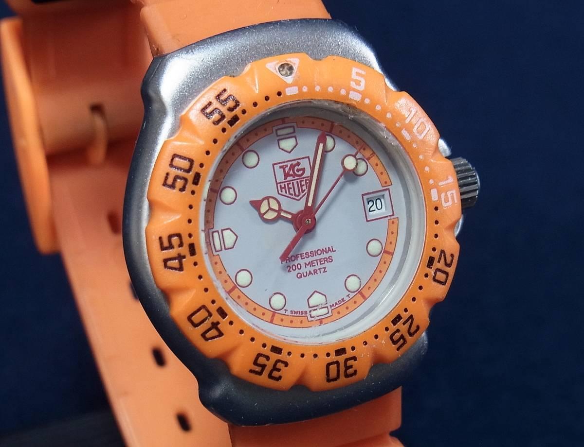 【ジャンク】タグホイヤー フォーミュラ1 オレンジ レディースサイズ クォーツ腕時計 [373.508] 動作品_画像5