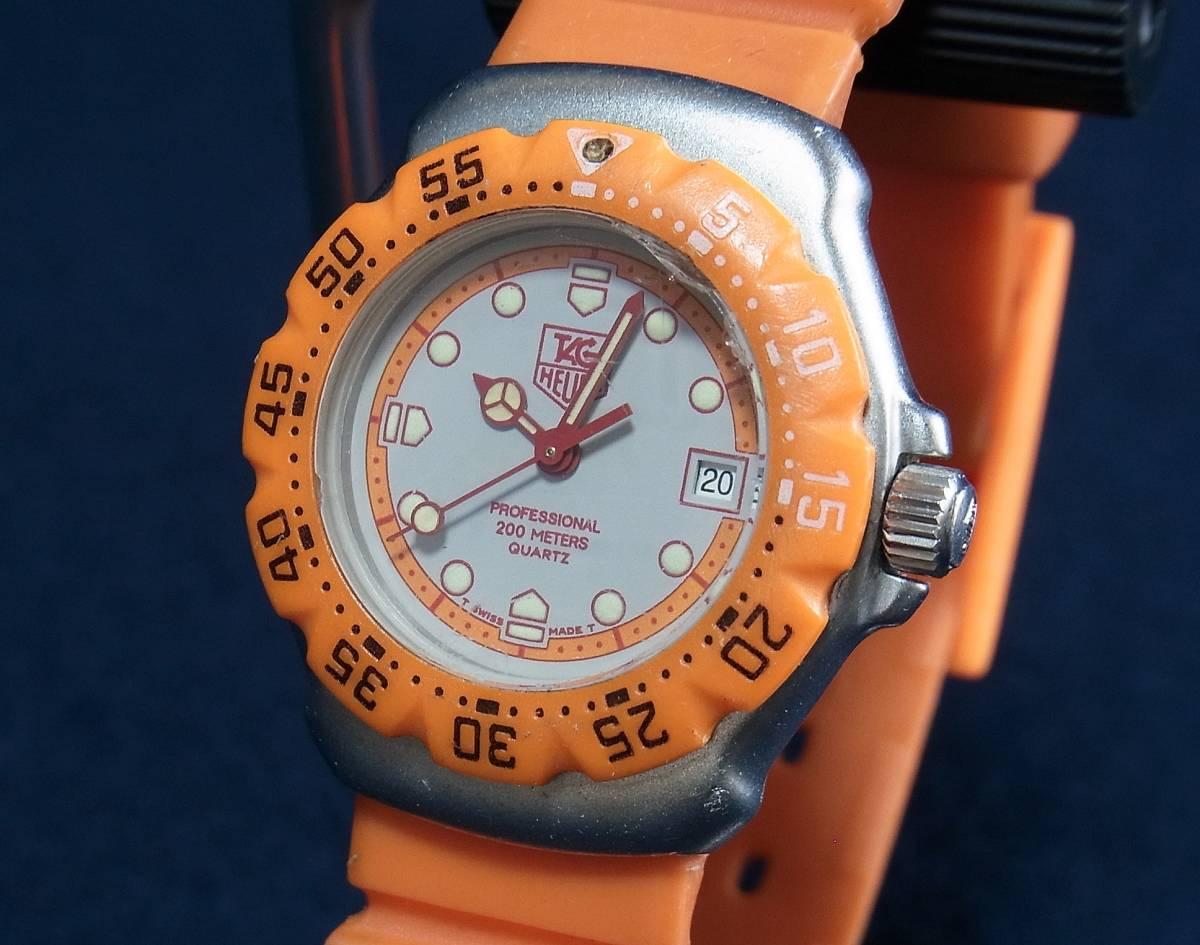 【ジャンク】タグホイヤー フォーミュラ1 オレンジ レディースサイズ クォーツ腕時計 [373.508] 動作品_画像3