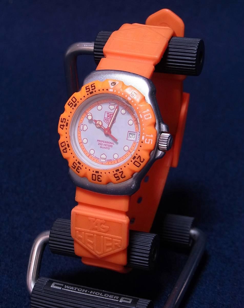 【ジャンク】タグホイヤー フォーミュラ1 オレンジ レディースサイズ クォーツ腕時計 [373.508] 動作品