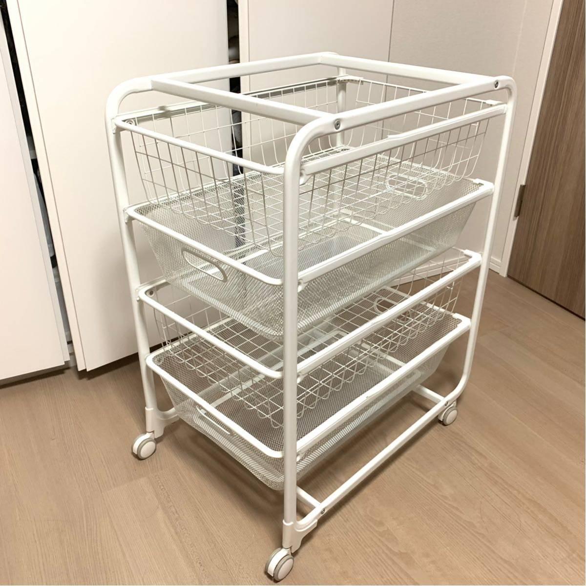 IKEA ALGOT アルゴート フレーム ワイヤーバスケット 2個 メッシュバスケット 2個 キャスター クローゼット収納/押入れ収納/イケア 白