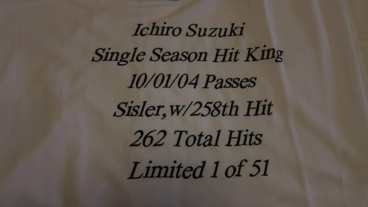 イチロー ジャージ レア 2004 ユニフォーム MLB マリナーズ 刺繍 最多安打 記念 限定 51枚_画像5