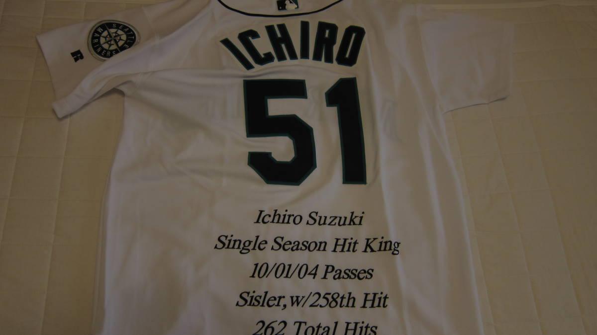 イチロー ジャージ レア 2004 ユニフォーム MLB マリナーズ 刺繍 最多安打 記念 限定 51枚_画像6