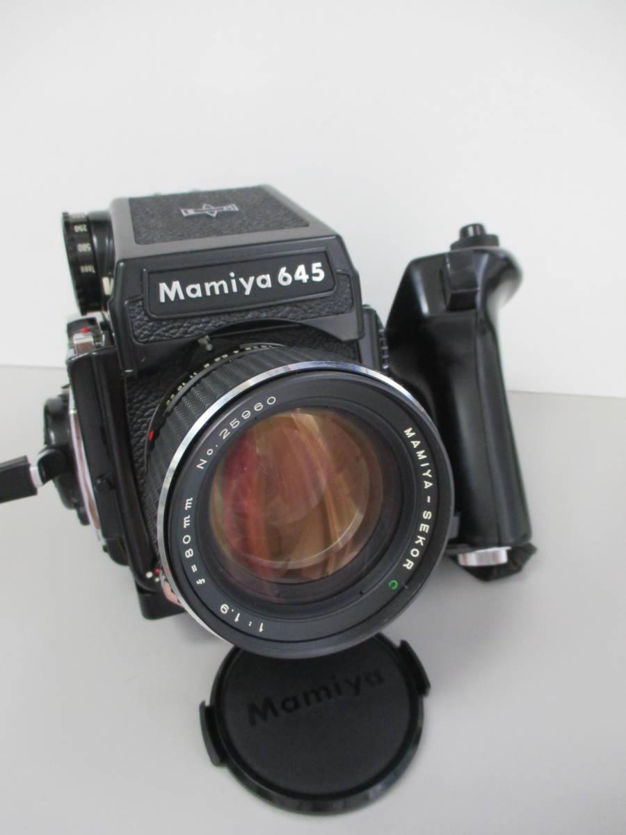 U30684  中古★マミヤ M645 1000s 中判カメラ MAMIYA-SEKOR C 1:1.9 f=80mm レンズ グリップ 付き