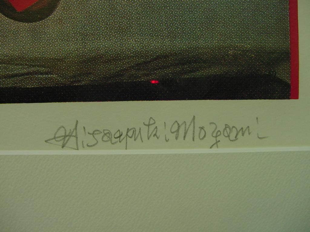 「最上壽之の版画作品 仮題 赤の食卓 限100 署名入 額装」画像を御覧下さい!_画像4