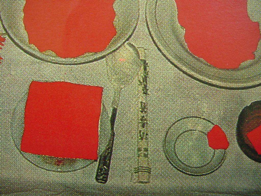 「最上壽之の版画作品 仮題 赤の食卓 限100 署名入 額装」画像を御覧下さい!_画像3