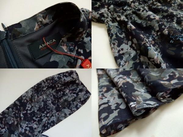 新品アマカコレクションAMACA40 モノトーンフラワープリント リボン付きドレス ワンピース/ドレス11号 Lサイズ相当(0)_画像3