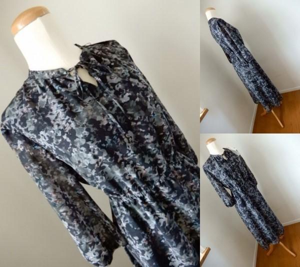 新品アマカコレクションAMACA40 モノトーンフラワープリント リボン付きドレス ワンピース/ドレス11号 Lサイズ相当(0)