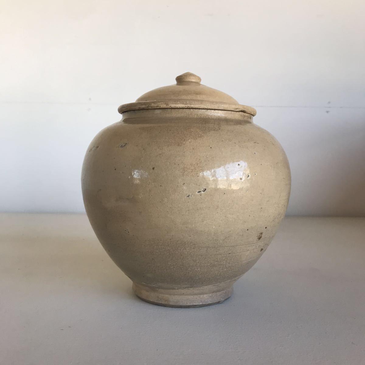 古い 壺 蓋付 瀬戸物 雨漏り手 陶器 アンティーク