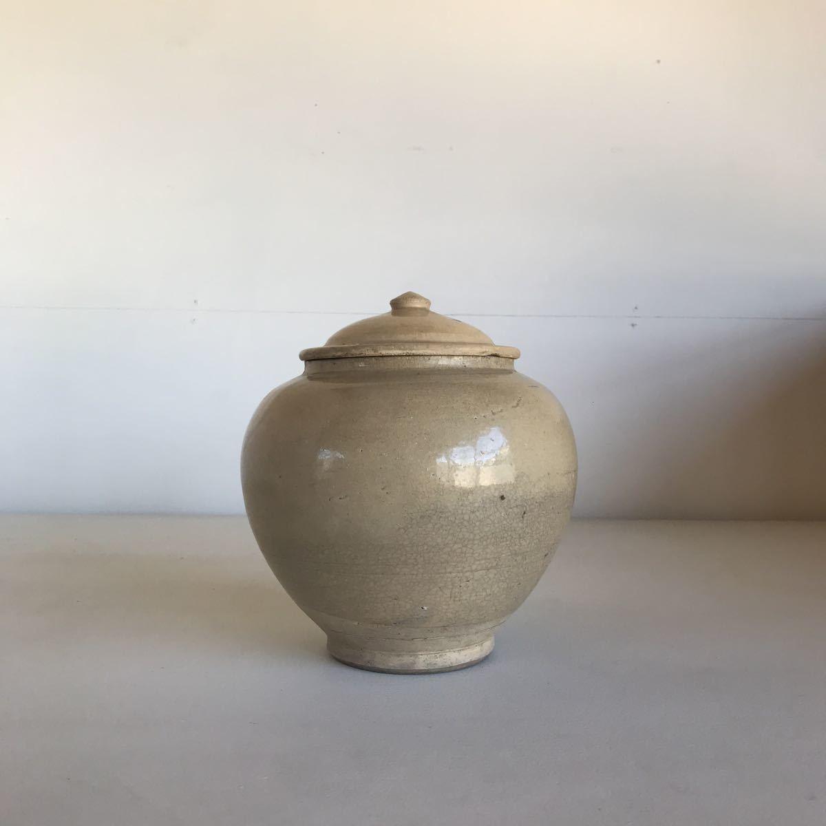 古い 壺 蓋付 瀬戸物 雨漏り手 陶器 アンティーク_画像7