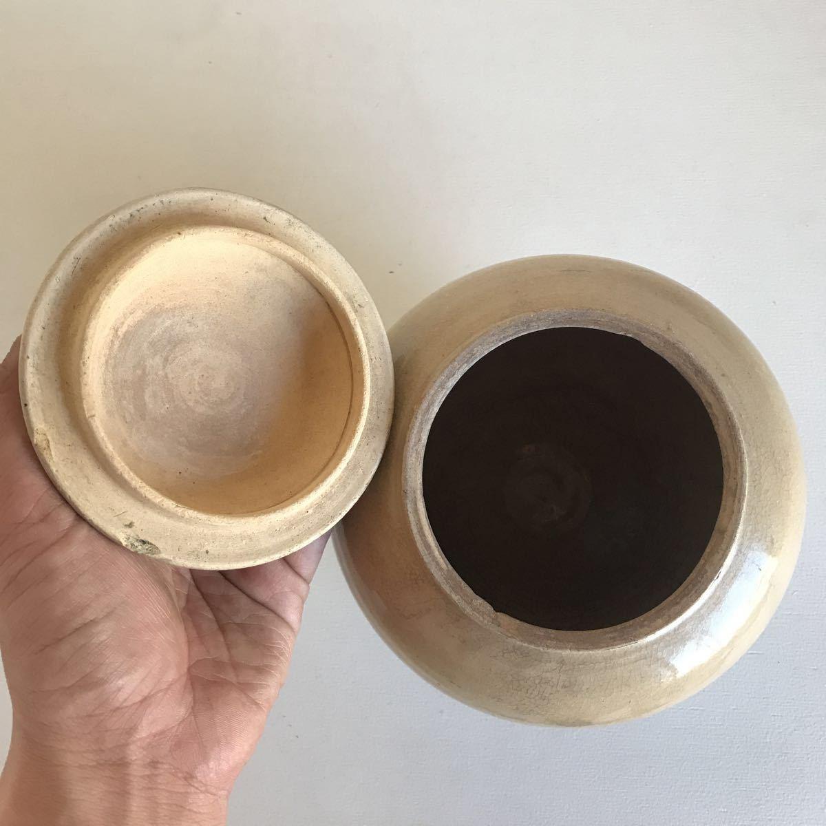 古い 壺 蓋付 瀬戸物 雨漏り手 陶器 アンティーク_画像4