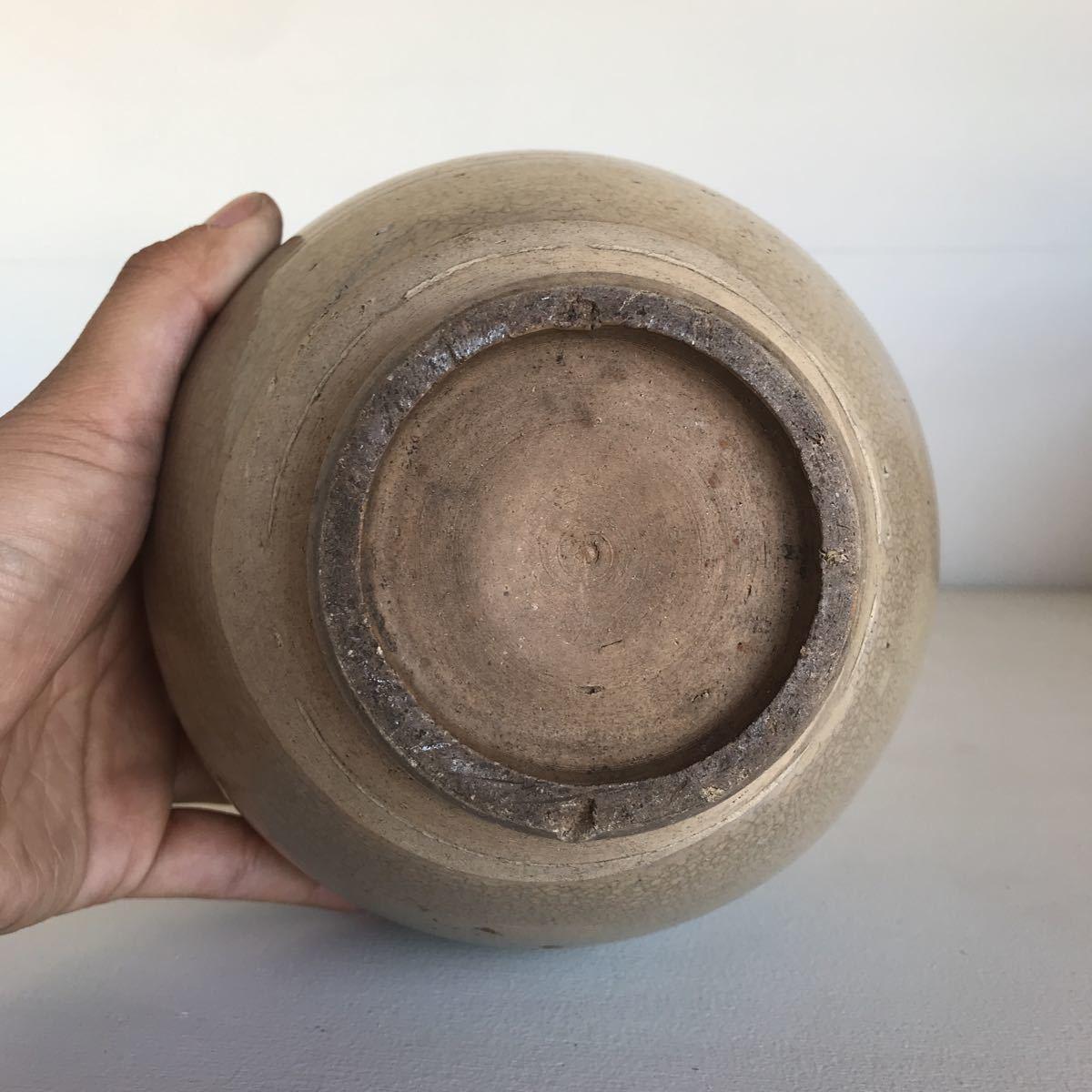 古い 壺 蓋付 瀬戸物 雨漏り手 陶器 アンティーク_画像5