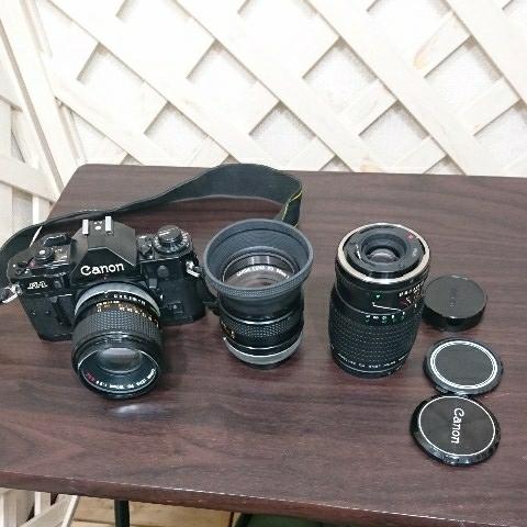 ☆Canon キヤノン A-1 FD50mm F1.4 S.S.C MF一眼レフカメラ 標準レンズ /100mm1:2.8 S.S.C/FD 35-105mm 1:3.5-4.5/レンズ3点付き訳あり