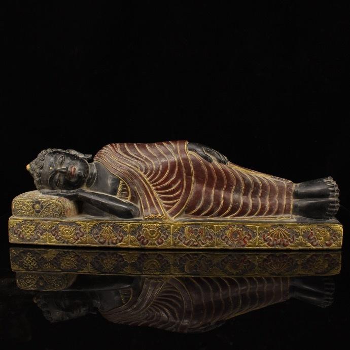 【1905XMS0345】中国古董品 西藏寺院收集 彩繪描金黑石睡佛 佛像 手彫 精美彫 秀作 中国