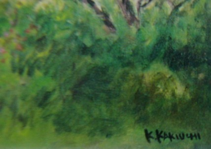 垣内カツアキ【富士の見える花咲く丘】希少画集画、状態良好、新品高級額装付、送料無料、洋画 油彩 風景_画像5