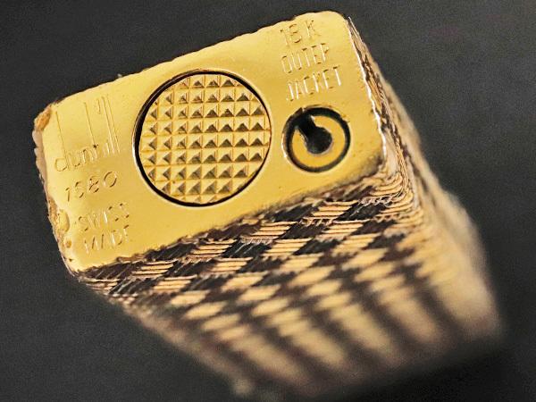 ダンヒル DUNHILL 金無垢 K18スリーゴールド バケットメッシュ ローラライト ガスライター 101.3g YG/WG/PG 喫煙具 シガーグッズ 本物 正規_画像6