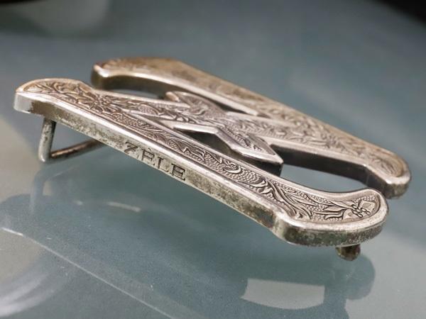 超美品 ゼル ZELE 極希少 最初期モデル 銀無垢 総彫刻 スターリングシルバー エングレイブド Zバックル メンズベルト SV925 本物 正規_画像3