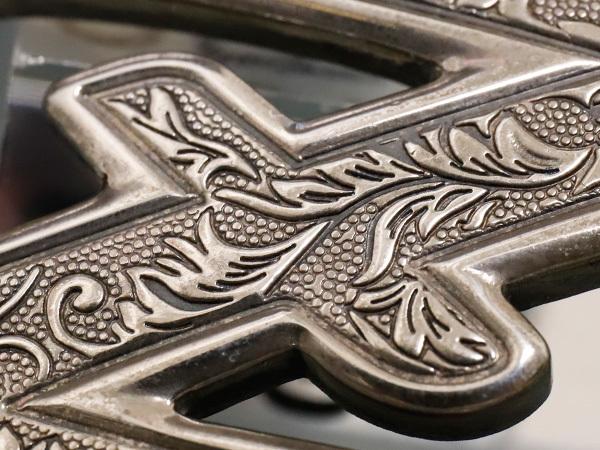 超美品 ゼル ZELE 極希少 最初期モデル 銀無垢 総彫刻 スターリングシルバー エングレイブド Zバックル メンズベルト SV925 本物 正規_画像2