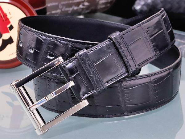 エルメス 極希少35mm幅 最高級マットクロコダイルレザー クルードセル バックル メンズベルト 黒 ブラック クロコ アリゲーター 本物 正規_画像1