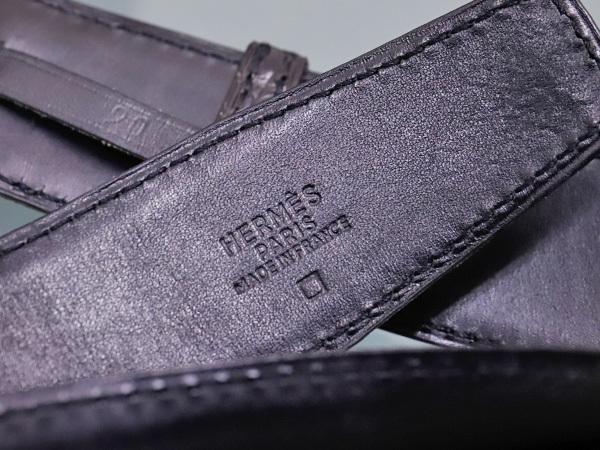 エルメス 極希少35mm幅 最高級マットクロコダイルレザー クルードセル バックル メンズベルト 黒 ブラック クロコ アリゲーター 本物 正規_画像5