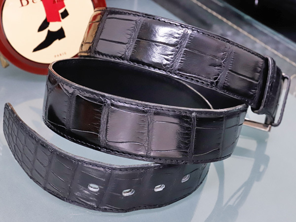 エルメス 極希少35mm幅 最高級マットクロコダイルレザー クルードセル バックル メンズベルト 黒 ブラック クロコ アリゲーター 本物 正規_画像3