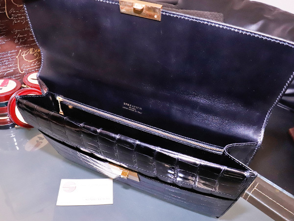 超美品 スプレアフィコ 最高級手縫いクロコダイルレザーメンズ書類ビジネスバッグ 黒 ブラック 仕事鞄 クロコ ブリーフケース 本物 正規_画像6
