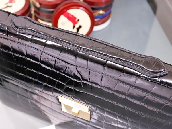 超美品 スプレアフィコ 最高級手縫いクロコダイルレザーメンズ書類ビジネスバッグ 黒 ブラック 仕事鞄 クロコ ブリーフケース 本物 正規_画像4