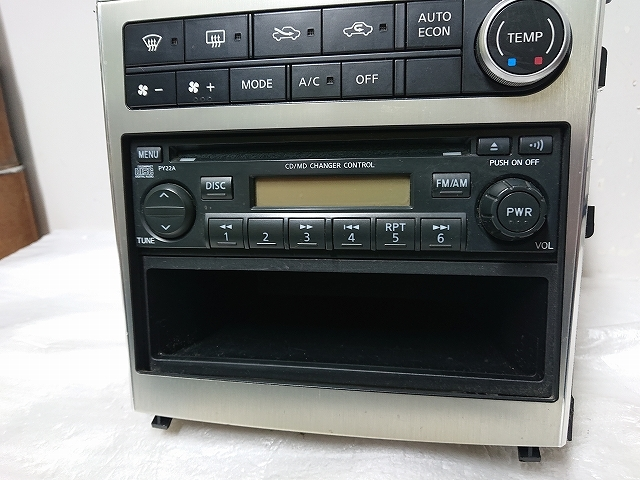 ステージア M35 後期 2DIN オーディオ パネル ナビ モニター CDデッキ付 エアコン ナビ スイッチ スカイラインV35 確認済み _画像5