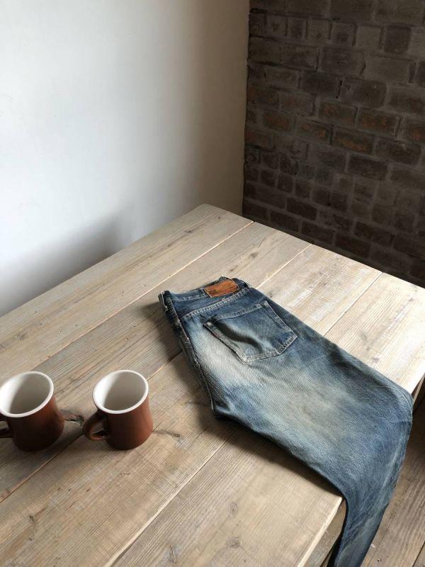 数量限定 OWT-150 ダイニングテーブル テーブル デスク ワークデスク カフェテーブル 作業台 古材 机_画像6