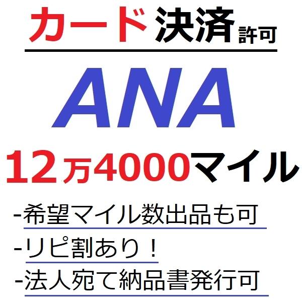 ANA124000マイル加算●国内線や国際線特典航空券予約発券や提携施設利用に/ANA12万4000マイル/ANA124,000マイル/ANAマイル/カード決済許可_画像1