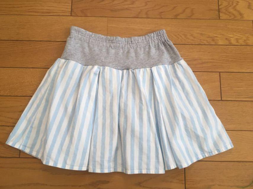 ★KP 白×水色 ストライプ柄スカート付スカッツ 130cm_画像2