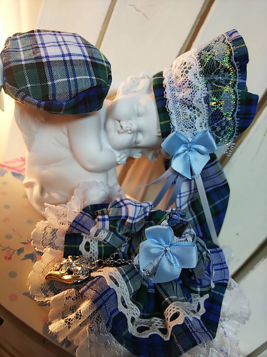 【BettyRose】オビツ11☆あまむす☆ミニスィーツドール☆チェックのドレス青☆大きいうさ耳ヘッドドレス☆帽子☆チェーンベルトの4点セット_画像3