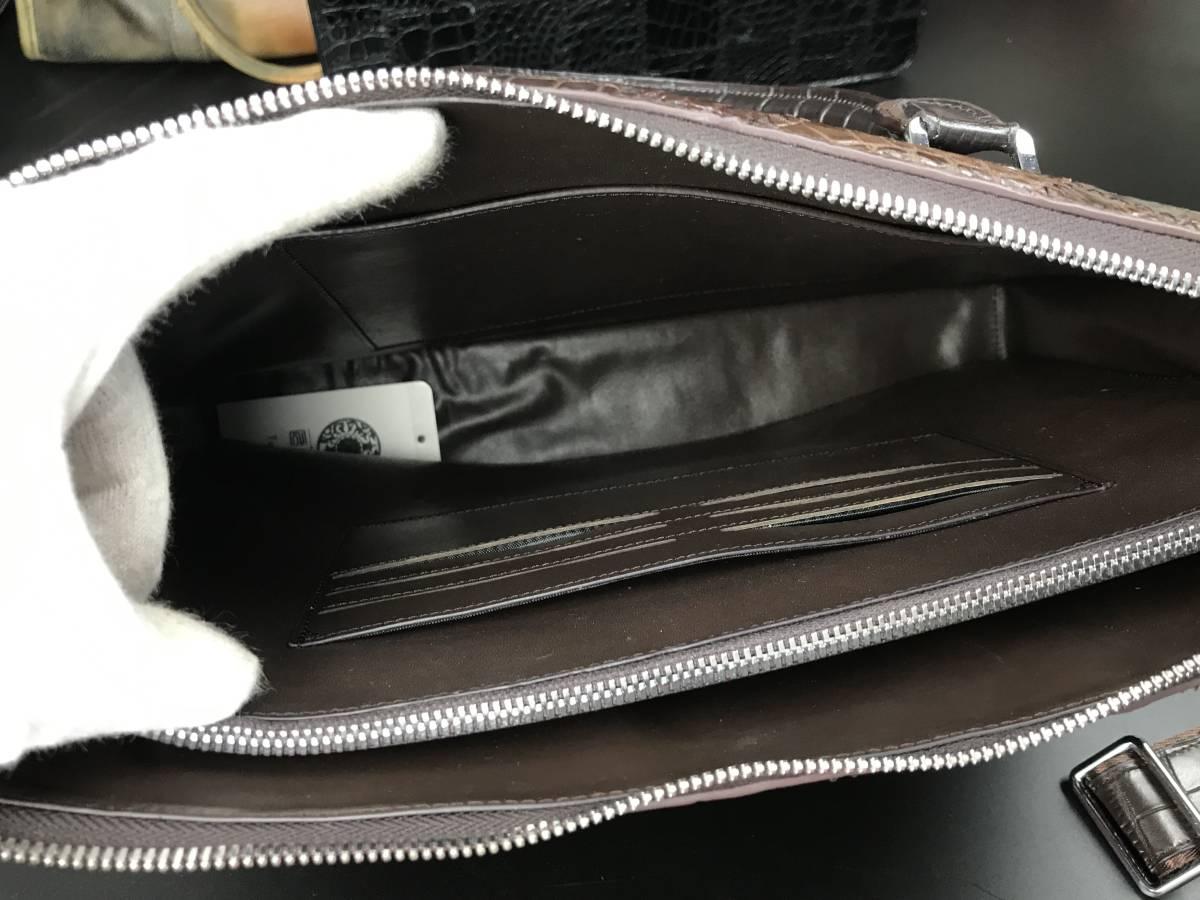 匠の神~クロコダイルレザー ショルダーバッグ本物 ワニ革 メンズ ビジネスバッグ 鰐革 総本革 2WAY A4書類鞄 ハンドバッグ _画像9