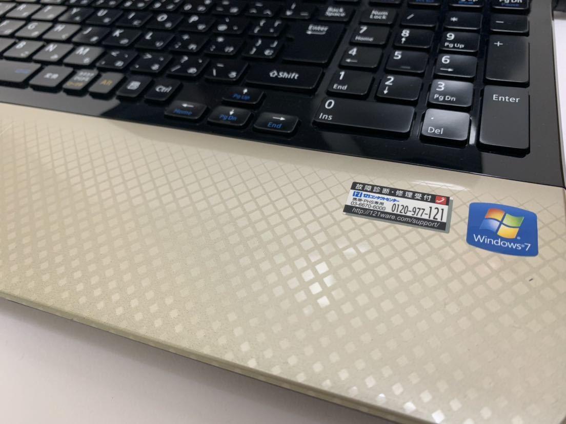 ☆美品☆激速+大容量♪ ゴールド♪ 最上級☆core i7-2760QM (新品)SSD512GB+HDD1000GB NEC LS150/H メモリ8GB office_画像6