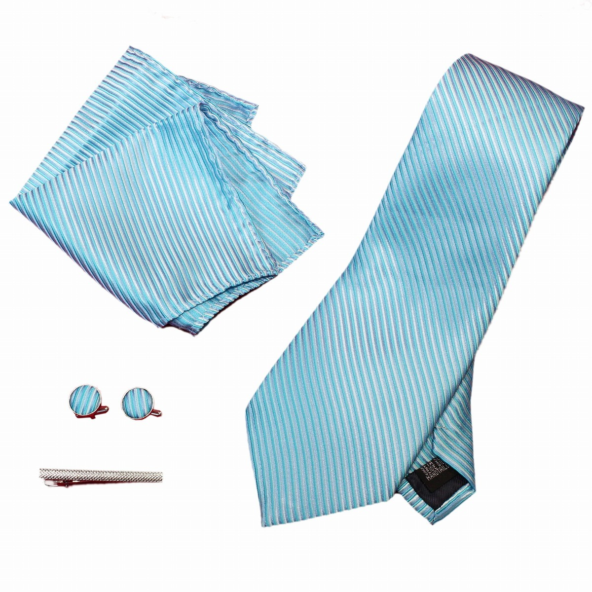 新品 ネクタイ 4点セット ポケットチーフ カフスボタン タイピン 水色系ストライブ 送料込み プレゼントにもおすすめ(11022)_画像1