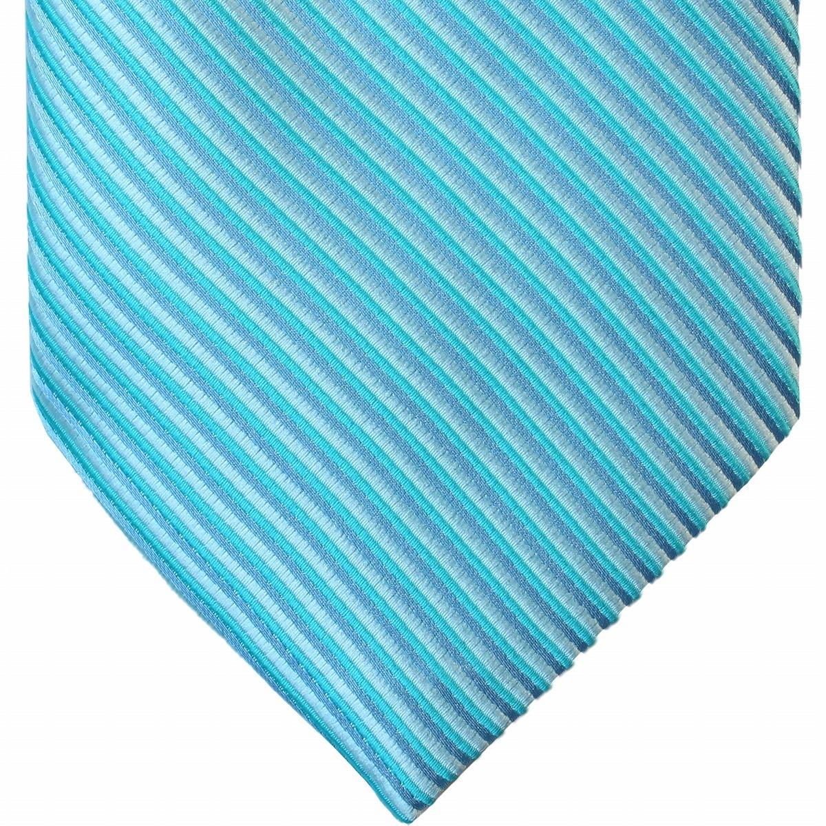 新品 ネクタイ 4点セット ポケットチーフ カフスボタン タイピン 水色系ストライブ 送料込み プレゼントにもおすすめ(11022)_画像2