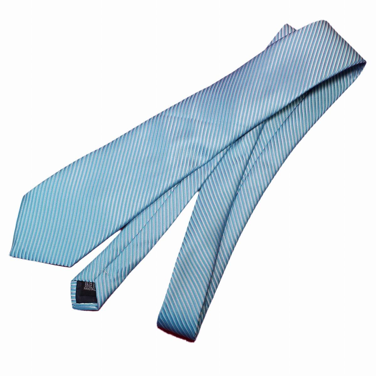 新品 ネクタイ 4点セット ポケットチーフ カフスボタン タイピン 水色系ストライブ 送料込み プレゼントにもおすすめ(11022)_画像4