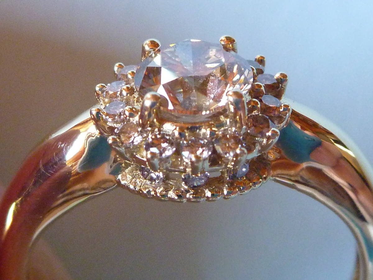 【送料込】GSTV K18 18金 イエローゴールド 指輪 リング 18.5号 ブラウンダイヤモンド 主石0.75ct以上 メレ0.25ct 合計1.00ct 蛍光性ブルー_画像6